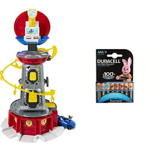 PAW Patrol Mighty Pups Lifesize Lookout Tower Zentrale - 70 cm groß + Duracell Ultra AAA Micro Alkaline Batterien LR03, 8er Pack
