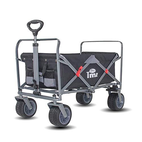 TMZ All-Terrain Auto-Reifen Faltbar Bollerwagen, Patentierter Breiter 360 ° Drehräder Handwagen Klappbar Transportwagen, Patentierte Falttechnik Gartenwagen, 90 L, bis 120kg(Black/Grey)