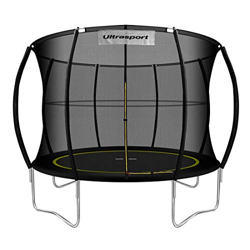 Ultrasport Garten Trampolin mit 305 cm Durchmesser, mit Elastik-Seilsystem statt Sprungfedern, kein Quietschen, belastbar bis 150 kg, Trampolin Komplettset, Farbe: schwarz