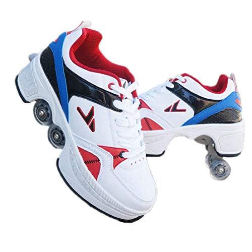 FLY FLU 2-in-1-Mehrzweckschuhe,Doppelte Fahrbare Rollen-Schuhe - Für Jungen-Mädchen-Kinderrochen-Schuhe Mit Vier Rädern, Rollschuhe Schuhe Mädchen Jungen Radschuhe Kinder Rad Turnschuhe,D-42