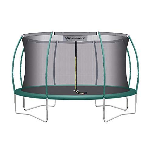 Ultrasport Garten Trampolin XL, 366cm Durchmesser, belastbar bis 150 kg, großes Outdoor Trampolin mit viel Platz und vielen Sicherheitsmerkmalen, Trampolin Komplettset, grün