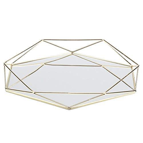 Raguso Schmuckablage Tablett Tisch Dekorative Tablett Organizer Tablett für Schmuck Display(Golden)