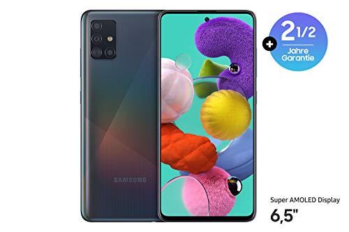Samsung Galaxy A51 Android Smartphone ohne Vertrag, 4 Kameras, 6,5 Zoll Super AMOLED Display, 128 GB/4 GB RAM, Dual SIM, Handy in schwarz, Europäische Version
