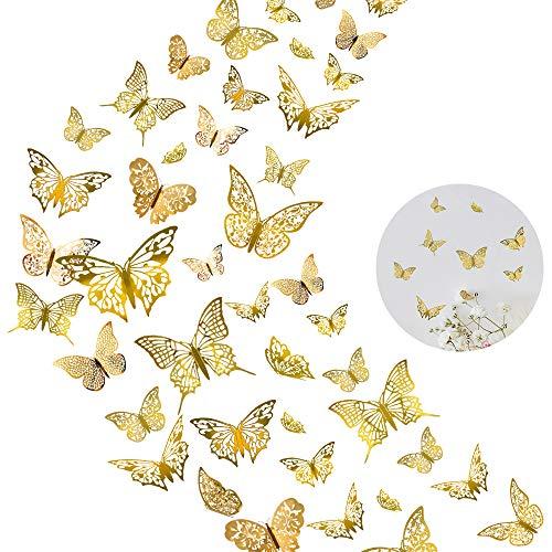 60er 3D Schmetterling Wandaufkleber Wandtattoo Dekor, DIY Metallischer Hollow-Out Wanddeko Aufkleber, Abnehmbar Wandbilder Dekoration für Kinderzimmer Wohnzimmer Party Hochzeit (Gold)