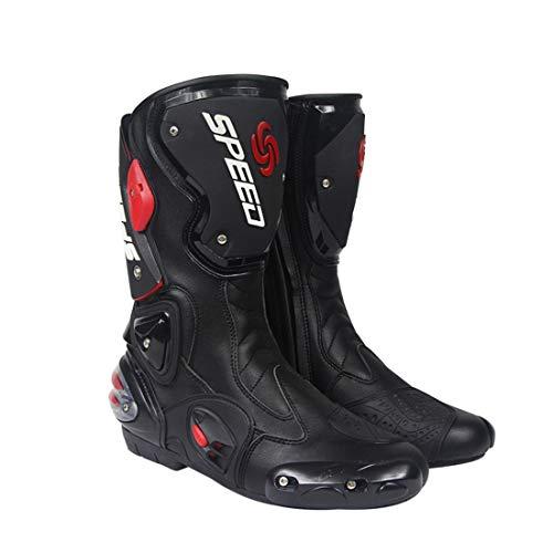 AKAUFENG Motorradstiefel Motorrad Schuhe Herren Kurzstiefel Sneaker Wasserabweisend mit Hartschalenprotektoren Schwarz 40-45