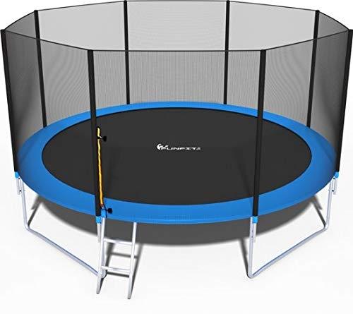 Trampolin, Gartentrampolin Jumper, TÜV & GS Zertifizierung, inklusive Sicherheitsnetz, Leiter, Sprungmatte und Randabdeckung, 435 cm Durchmesser