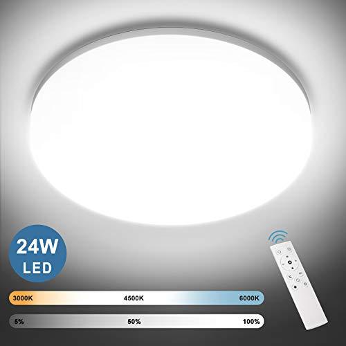 NIXIUKOL 24W LED Deckenleuchte Dimmbar, Deckenlampe mit Fernbedienung, Lichtfarbe und Helligkeit einstellbar, IP54 Wasserdichte Wohnzimmerlampe Schlafzimmerlampe Kinderzimmerlampe 28cm