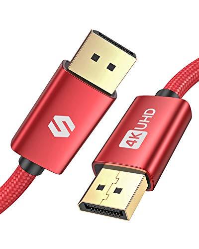 DisplayPort Kabel 3m, Unterstützung 4K@60Hz, 2K@144Hz, 2K@165Hz, 1080@240Hz, 3D, Silkland DP Kabel für 144Hz-Gaming-Monitor, TV, PC, Beamer, Grafikkarte - Rot