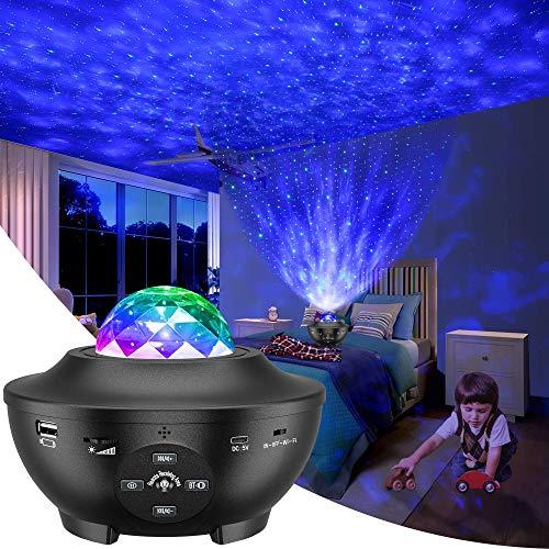 Slols Sternenhimmel Projektor Lampe, LED Sternenlicht Projektor Galaxy mit Rotierende Ozeanwellen/Bluetooth Musikspieler/Fernbedienung/Timer/Baby Nachtlicht Perfekt für Kinder Zimmer,Party,Dekoration
