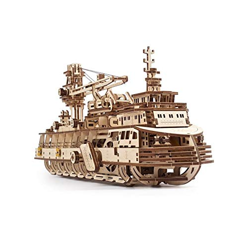 UGEARS 3D Puzzle Erwachsene Entdeckerschiff - Schiff Modellbausätze - Modellbau Schiffe Holz - 3D Modellbausatz - DIY Modellschiff - Mechanische Modell - 3D Holzpuzzle für Erwachsene und Jugendliche