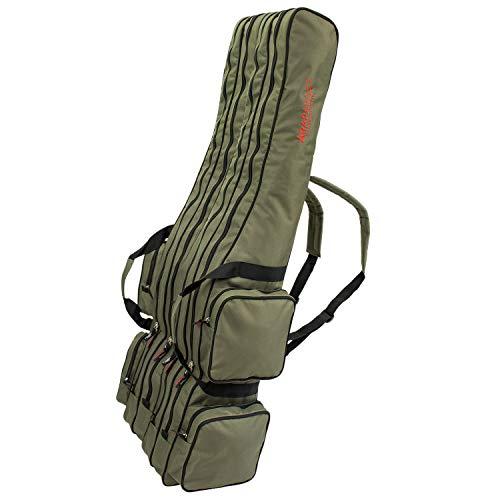 Arapaima Fishing Equipment® Rutentasche \'Rise\' 4-Fach | Allround Angeltasche mit 4 Innenfächern | Fishing Angel Rucksack - Oliv - 160 cm