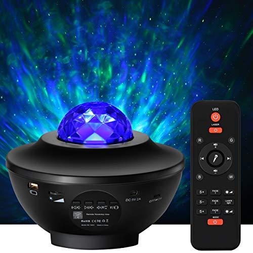 Merisny LED Sternenlicht Sternenhimmeprojektor Wasserwellen Projektionslampe Stimmungslichter Ferngesteuerte Nachtlichter Farbwechsel Bluetooth-Lautsprecher Timer für Kinder Party Geschenk Geburtstag