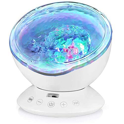 Opibtu Ozeanwellen Projektor Lampe Stimmungslicht Kinder 12LED 7 Beleuchtungsmodi Nachtlicht Kind mit Timerfunktion Lautsprecherfunktion LED Projektor für Kinder Geburtstag Weihnachten Geschenk