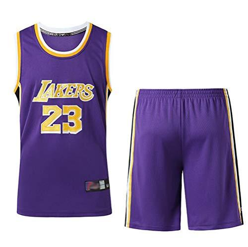 FSBYB Herren Trikots Lakers # 23 Lebron James Retro Basketball-Hemd Shorts Sommer Stickerei Tops Basketball-Klage,Lila,M