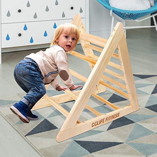 CCLIFE Kletterdreiecke nach Pikler Art Holz Indoor für Babys Kinder Kleinkinder Aktivspielzeug natürliche ungiftige Farbe, Farbe:Kletterdreiecke Holzoptik