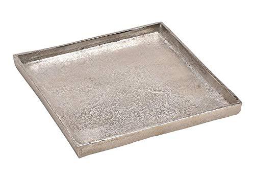 Tablett Dekoteller Silber Metall massiv Tischdeko Schale Dekoschale Dekotablett (Modell 2: 25 x 25 cm)