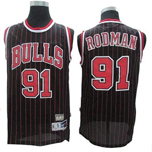 Dennis Rodman # 91 Herren-Basketball Jersey, Bulls Retro All-Star atmungsaktiv Swingman Trikots (Color : Black(B), Size : L)