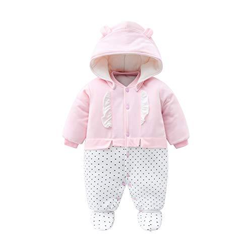 Baby Mädchen Strampler Winter Schneeanzug mit Kapuze Overall Baumwolle Abnehmbarer Hut Outfits Langarm Rosa Jumpsuit Geschenk 0-3 Monate