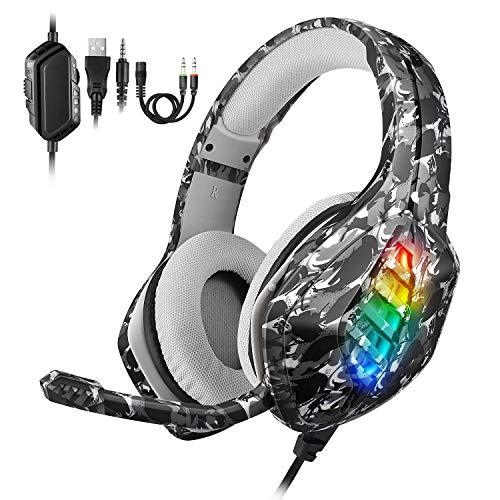 REDSTORM Gaming Headset PS4, Xbox Headset mit Mikrofon und Einstellbarer Rauschunterdrückung, LED-Lampe, Bass-Stereo, für Xbox One/PS5/PS4/PC/Switch/Tablet/Smartphone