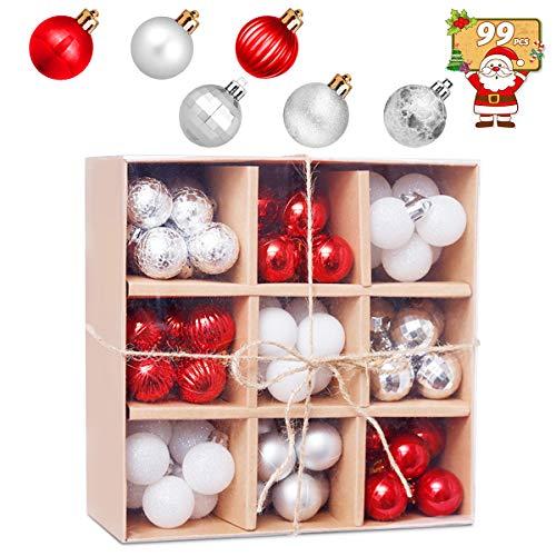 HBHS Christbaumkugeln, Suddefr Weihnachtskugel, 99 Teilig, 3CM, Weihnachtsbaumschmuck, Kunststoff, Baumschmuck für Urlaub, Hochzeit, Partydekoration.