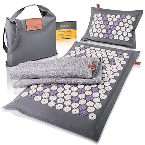 High Pulse® Eco Akupressur Set inkl. Tasche + Poster – Akupressurmatte & Kissen mit Magneten aus natürlichen Naturfasern stimuliert die Blutzirkulation und löst Schmerzen sowie Verspannungen