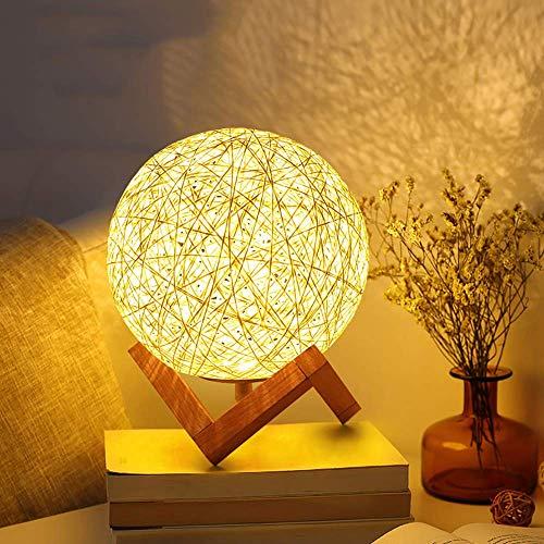 Rrzshop Modern Deko Lampe Nachttischlampe LED Nachtlicht für Schlafzimmer und Kinderzimmer, USB Tischlampe Nachtlampe Kinder Stimmungslicht mit Holzhalterung (Warmweiß)