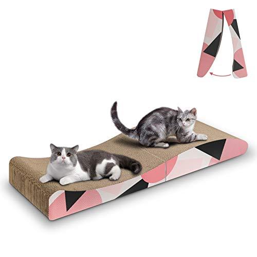 ComSaf Katzen Kratzbrett, Recycelbar Qualitäts-Pappe Kratzpad, Katzen Spielzeug Wellpappe Kratzmatten Lounge Kratzmöbel, 88 x 25 x 10cm