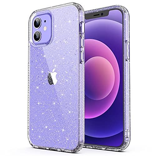 ULAK Glitzer Hülle Kompatibel mit iPhone 12/12 Pro, Durchsichtige Schutzhülle Hard TPU Bumper Handyhülle Stoßfest Phone Case für Apple iPhone 12/iPhone 12 Pro 6,1 Zoll - Glitzer Durchsichtige