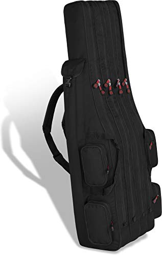 Rutentasche Rod Case Angelkoffer Futteral mit 3 Ruten-Fächern, Verschiedene Längen wählbar - stark wasserabweisender Fishing Rucksack Farbe Schwarz 4 Innenfächer Größe 160 cm