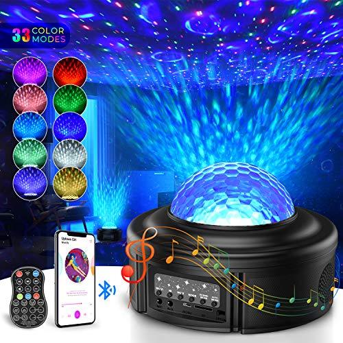 LED Sternenhimmel Projektor,Tesoky 360° Drehen Ozeanwellen Projektionslampe LED Starry Projector Light mit Bluetooth 5.0/Ferngesteuerte/Klingt Sensor für Party Weihnachten Ostern und Zimmer Dekoration