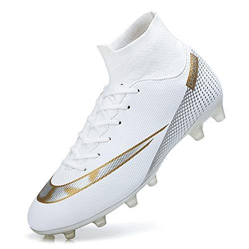 WOWEI Fußballschuhe Herren High Top Spike Cleats Outdoor Athletics Trainingsschuhe Fußball Stiefel,T2150 Weiß,EU39