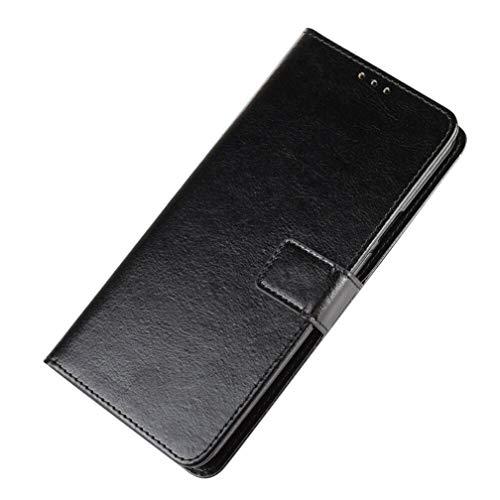 GOGME Hülle für Motorola Moto E7 Plus, Flip Wallet Case Cover, Klapphülle Handytasche, [Flip Stand/Kartensteckplatz] Leder PU Handyhülle, Schutzhülle mit Magnet/Geldbörse/Halter, Schwarz
