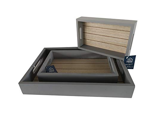 Dynamic24 3tlg. Set Holz Tablett Serviertablett Vintage Küche Grau Deko Frühstückstablett