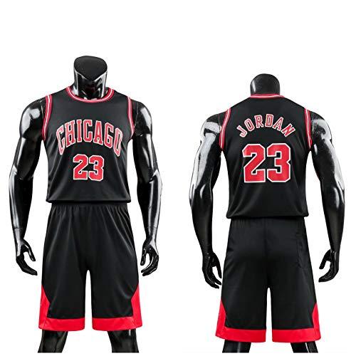 Daoseng Kinder Junge Herren NBA Michael Jordan # 23 Chicago Bulls Retro Basketball Shorts Sommer Trikots Basketballuniform Top & Shorts Basketball Anzug (Schwarz, L/Erwachsene Höhe 160-165CM)