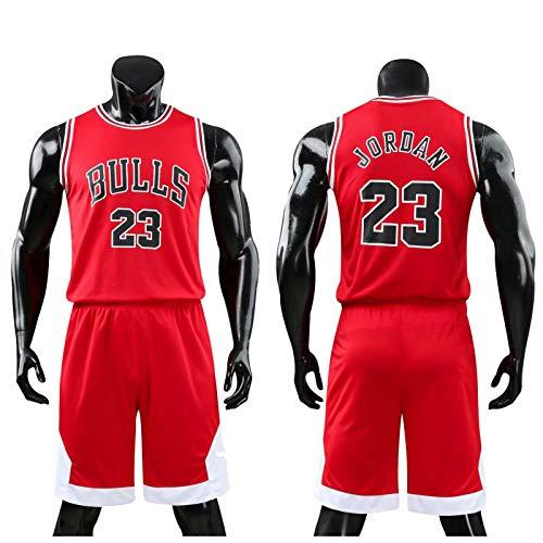 Daoseng Kinder Junge Herren NBA Michael Jordan # 23 Chicago Bulls Retro Basketball Shorts Sommer Trikots Basketballuniform Top & Shorts Basketball Anzug (Rot, XL/Erwachsene Höhe 165-170CM)