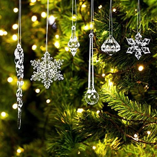 LOVEXIU Weihnachtsdeko Eiszapfen Anhänger,Weihnachtsbaumschmuck, Acryl Eiszapfen Deko,Schneeflocken deko acryl,Christbaumschmuck eiszapfen Schneeflocke Für Hängen Weihnachten Dekoration