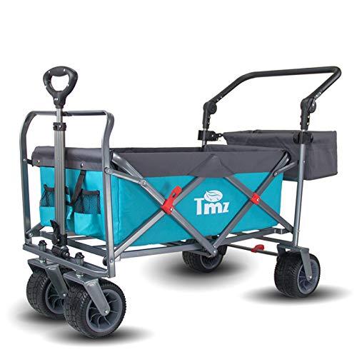 TMZ Faltbarer Bollerwagen All-Terrain Gartenwagen mit Fußbremse, Patentierter Breiter Auto-Reifen Klappwagen, 96 L Handwagen, Praktisch Integrierte Vorderradlenkung Transportwagen, Last bis 150kg