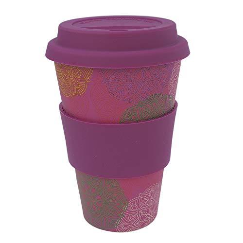 ebos Coffee-to-Go Becher aus Bambus – melaminfrei | Wiederverwendbarer Trink-Becher aus natürlichen Materialien | spülmaschinen- und mikrowellengeeignet | Mandala Spirit