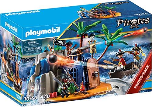 PLAYMOBIL Pirates 70556 Pirateninsel mit Schatzversteck und schwimmfähigem Boot, Für Kinder von 4 - 10 Jahren