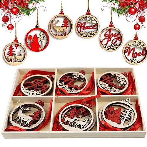 CHEPL Weihnachtsbaumschmuck 18 Stück Holz Weihnachten Anhänger Weihnachtsdekoration Holz Anhänger Weihnachtsbaum Holz Christbaumschmuck für Weihnachtsdeko Verzierung