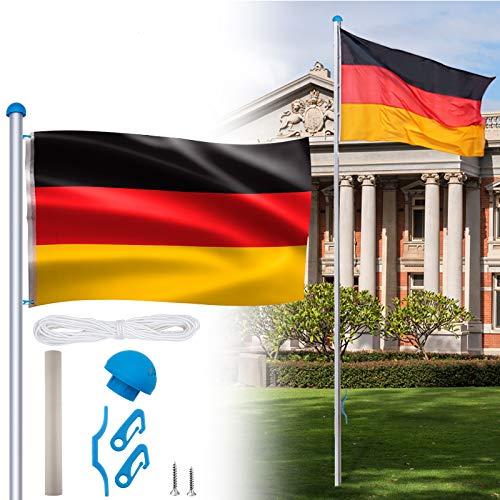 HENGMEI Aluminium Fahnenmast 6,50m mit Deutschlandfahne Flagge, Seilzug und Bodenhülse witterungsbeständigem Flaggenmast höhenverstellbar für draussen