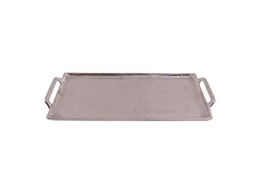 CB Home & Style Deko-Tablett mit Griffen Dekoteller Silber aus Metall Aluminium rechteckig (47x20,5cm)
