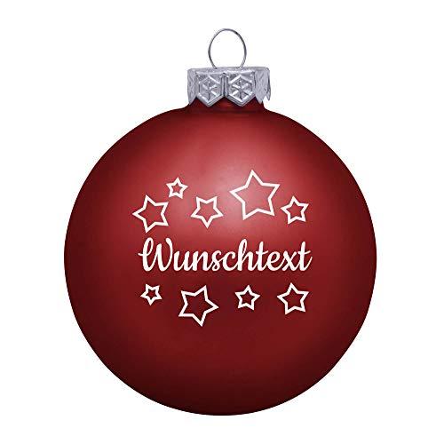 Deitert Weihnachtskugel mit Wunschtext Gravur, Ø 8cm, Personalisierte Christbaumkugel aus Glas (matt), Individueller Weihnachtsbaumschmuck Namen oder Spruch, Sternen-Motiv, Rot