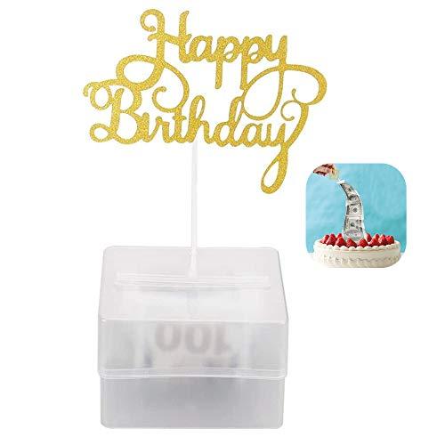 Ikruidy Kuchen Sparbüchse Set Lustige Geld ziehen Kuchen Set wiederverwendbares Kuchen Geldautomat mit 20 transparenten Taschen für Geburtstagsfeier liefert Überraschungsgeschenk