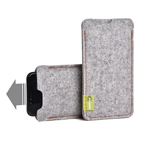 """Almwild® Hülle Tasche passend für Apple iPhone 12/12 Pro MIT Apple Leder Case/Silikon Case. BREITES Sleeve. Modell """"Dezenzi"""" Alpstein- Grau aus Natur-Filz. Handyhülle Handytasche aus Bayern"""