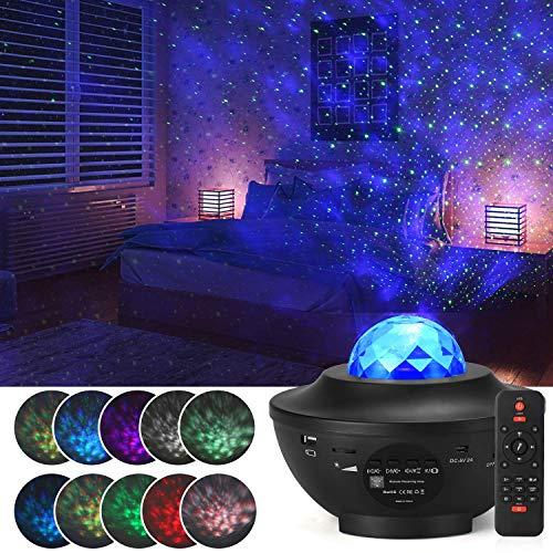 LED Sternenhimmel Projektor, Sterne Lampe Galaxy Light Kinder Nachtlicht mit Fernbedienung/Bluetooth Lautsprecher/Timer, Starry Stern/Wasserwellen-Welleneffekt, für Zimmer Geburtstagsfeier Hochzeit