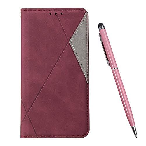 TOUCASA Kompatibel mit Huawei P30 Pro Hülle, Handyhülle Brieftasche PU Leder Flip Case [Ständer Kartenfach] [Taktile Stitching] Handytasche Klapphülle Kratzfestes Schutz Lederhülle (Rot)