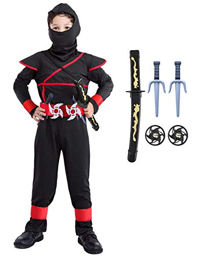 Seawhisper Ninja Kostüm Kinder Junge Faschingskostüme Karnevalskostüm Kinderkostüme Fasching Karneval Halloween 146