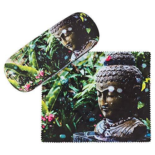 VON LILIENFELD Brillenetui Buddha Wellness Foto Motiv Etui Brille Mikrofaser Brillenputztuch Brillenbox Stabiles Hardcase Set mit Stoff bezogen