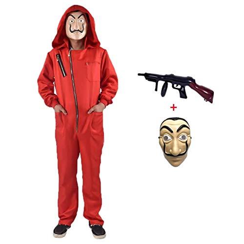 ALINILA Bankräuber Overall für Karneval Dieb Kostüm Overall Rot Langarm Strampler mit Kapuze,Cosplay Set Maske Und Maschinengewehr Fasching Karneval Kostüm Damen Herren Kostümfes Fasching
